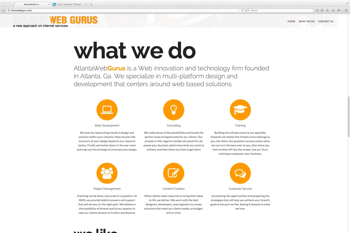 Atlanta Web Guru website project